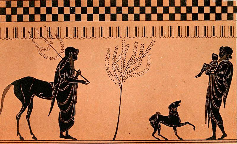কেইরনের সামনে পেলেয়ুস, কোলে শিশু অ্যাকিলিস