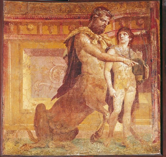 কেইরন, অ্যাকিলিসকে lyre বাজানো শেখাচ্ছেন